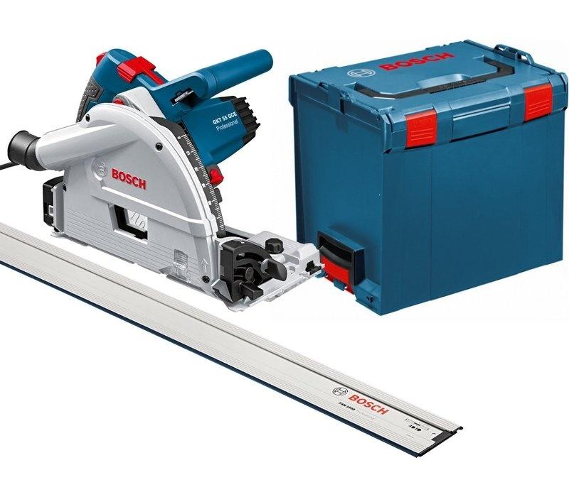 Bosch GKT55GCE Track Saw- 3.2m. Track set (ชุดเลื่อยรางบ๊อช พร้อมราง 1.6 ม. 2เส้น (ยาวรวม 3.2 ม.) ตัวต่อราง และกล่องใส่เลื่อย L-Boxx)