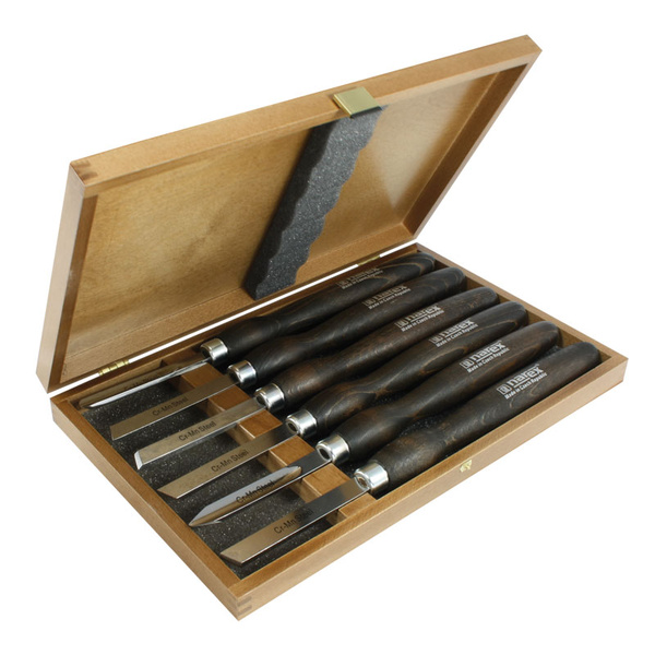NAREX 859503 Set of woodturning chisels in wooden box, STANDARD LINE -ชุดมีดกลึงรุ่นมาตรฐาน