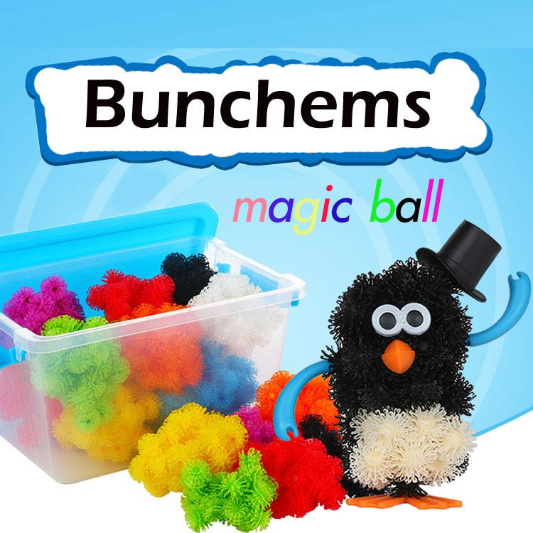 ของเล่นตัวต่อ bunchems 400+พร้อมกล่องพลาสติกใส สำหรับจัดเก็บ