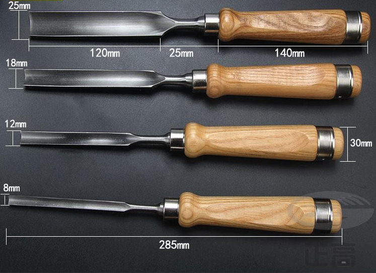 R'R'Deer สิ่วเล็บมือสำหรับงานไม้ (Gouge Chisel) เหล็ก Cr-V ชุด4 เล่ม ขนาด 8, 12, 18 และ 25มม.