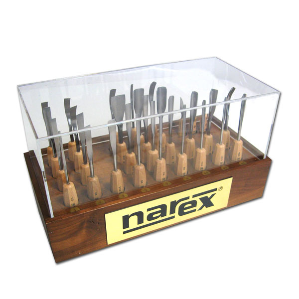 NAREX 877502 Display stand with carving tools STANDARD LINE 31pcs - ชุดมีดแกะสลักพร้อมกล่องเก็บโชว์