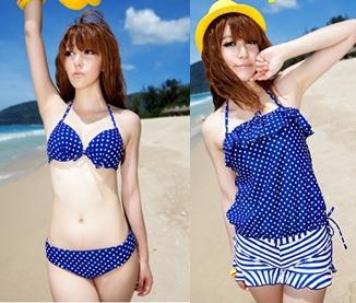 [พร้อมส่ง]BKN-011 ชุดว่ายน้ำบิกินี่ เซ็ต 4 ชิ้น สีน้ำเงินแต้มจุดขาว ขายพร้อมเสื้อคลุม+กางเกงขาสั้นลายขวางสีขาวน้ำเงินสวยๆ