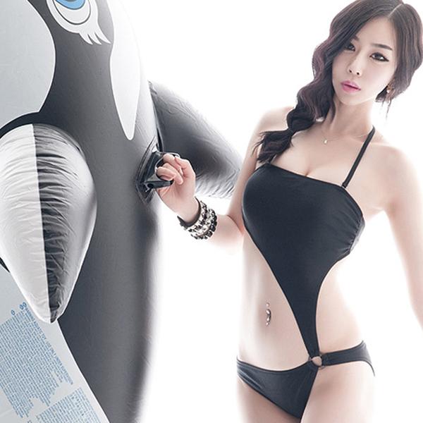 [พร้อมส่ง]BKN-494 ชุดว่ายน้ำวันพีช สีดำ เซ็กซี่