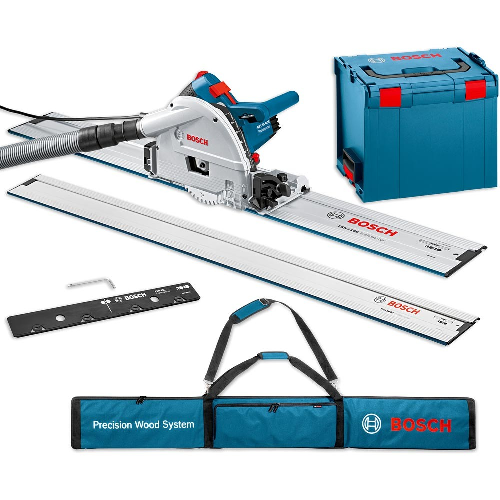 Bosch GKT55GCE Track Saw- 2x 1.6m. Track set with Bag (ชุดเลื่อยรางบ๊อช พร้อมราง 1.6 ม. 2เส้น และตัวต่อราง บรรจุในกระเป๋า (ยาวรวม 3.2 ม.) และกล่องใส่เลื่อย L-Boxx)