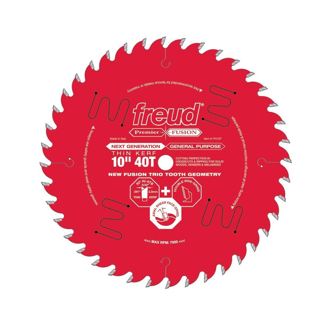 "FREUD P410T - 10"" x 40T Thin Kerf Hi-ATB Premier Fusion Saw Blade, 5/8-inch Arbor -ใบเลื่อยโต๊ะเลื่อยสำหรับตัดอเนกประสงค์ชนิดคลองเลื่อยแคบ U.S.A."