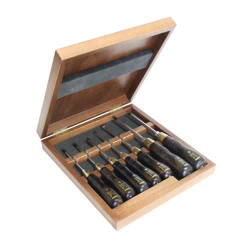 NAREX 858110 WOOD LINE PLUS Set of screwdrivers in wooden box - ชุดไขควงสำหรับงานไม้บรรจุในกล่องไม้