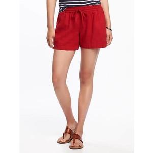 ( ไซส์ XL เอว 36-38 ) กางเกงขาสั้น ผ้าลินิน สีแดง ยี่ห้อ Oldnavy มีเชือกรูดผูกเอว