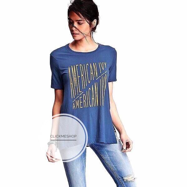 (ไซส์ XXL หน้าอก 50-52 นิ้ว )เสื้อยืด Oldnavy สีน้ำเงิน สกรีนลาย american ทรง Oversize