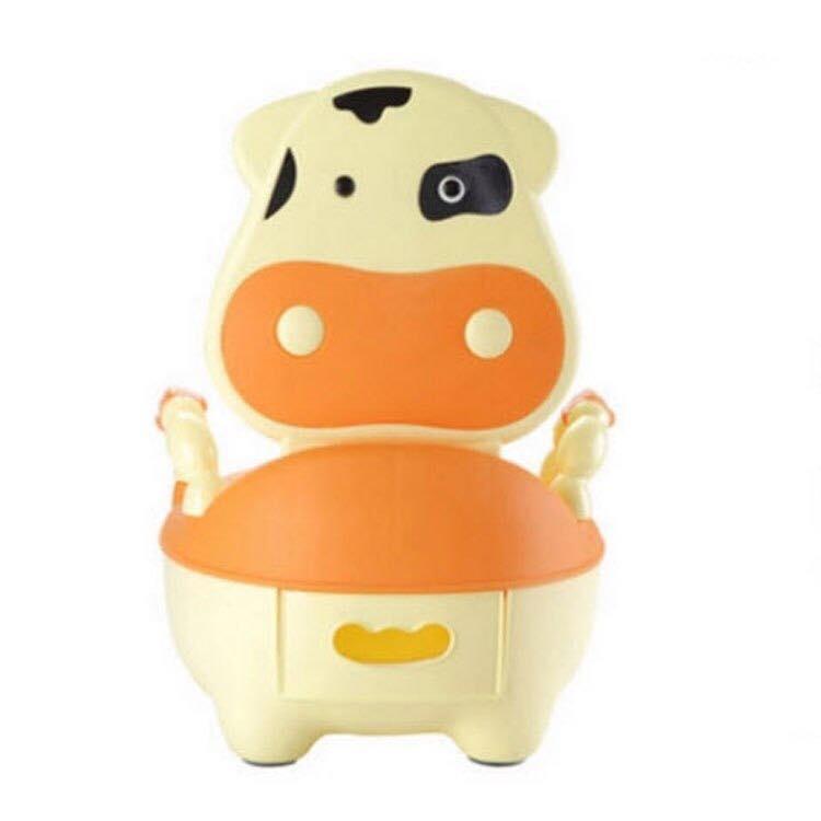 กระโถนสำหรับเด็ก สีเหลืองส้ม รูปร่างวัว