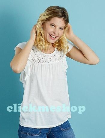 (ไซส์ XL หน้าอก 44-46 นิ้ว ) เสื้อยืด สีขาว ยี่ห้อ Kiabi แต่งโคเชที่ไหล่ และ ด้านหลัง แขนระบายน่ารักคะ สำเนา