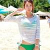 [พร้อมส่ง]Beachwear-28 เสื้อคลุมแขนยาว สีขาวผ้าฝ้ายซีทรู สวมทับชุดว่ายน้ำสวยๆ