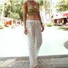 [พร้อมส่ง]Beachwear-34 กางเกงขายาวผ้าลูกไม้ซีทรู เอวยางยืดมีเชือกผูก สวยๆ