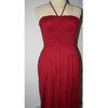 [พร้อมส่ง]Beachwear-506 -- สีแดง -- บีชแวร์ชุดชายหาด เดรสสั้น สายคล้องคอ หน้าอกเย็บสม็อก ซ่อนสายใส่แบบเกาะอกได้