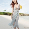 [พร้อมส่ง]Beachwear-10 เดรสบีชแวร์ ผ้าชีฟองใส่สบาย สีฟ้าแต้มจุดชมพูน่ารัก