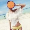 [พร้อมส่ง]Beachwear-30 เสื้อคลุมผ้าลูกไม้ซีทรูสวยๆ สีขาว