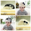 หมวกแก๊ปเด็กแต่งหูกระต่ายเล็ก ปีกหมวกพับขึ้นเป็นหน้ายิ้ม