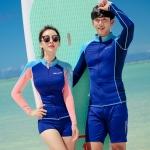 [พร้อมส่ง]BKN-2018 ชุดว่ายน้ำแขนยาว เซ็ต 3 ชิ้น สีน้ำเงิน-บราส้มโอรสสวยๆ