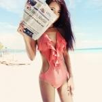 [พร้อมส่ง]Sale-185 ชุดว่ายน้ำวันพีช แหวกร่องอก เว้าหลังลึก สีโอรส