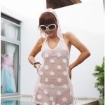 [พร้อมส่ง] Beachwear-32 ชุดคลุมบีชแวร์ ผ้าตาข่ายสีขาวลายสวย