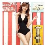 [พร้อมส่ง]BKN-004 ชุดว่ายน้ำวันพีช สีดำ คอผูก เว้าช่วงเอว ดูเซ็กซี่มากๆ