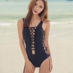[พร้อมส่ง]BKN-478 ชุดว่ายน้ำวันพีช สีดำ สายถักรอบตัว sexy