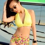 [พร้อมส่ง]BKN-465 ชุดว่ายน้ำ บราสีเหลือง กางเกงบิกินี่ลายดอกไม้สวย