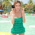 [พร้อมส่ง]BKN-048 -- สีเขียว -- ชุดว่ายน้ำวันพีช สายเสื้อเดี่ยว แต่งระบายด้านหน้า หลังเว้าลึก น่ารักสไตล์เกาหลี