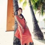 [พร้อมส่ง]Beachwear-14 -- สีส้ม -- บีชแวร์ผ้าฝ้ายเนื้อนิ่ม สวมใส่สบาย ดีไซน์ด้านหลังสุดเก๋