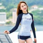 [พร้อมส่ง]BKN-2021 ชุดว่ายน้ำแขนยาว พื้นขาวลายเส้นสีกรมท่า