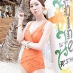[พร้อมส่ง]BKN-353 -- สีส้ม-- ชุดว่ายน้ำวันพีช สายเสื้อกล้าม ดีไซน์สวย