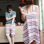 [พร้อมส่ง]Beachwear-771 บีชแวร์ ชุดแซกแขนกุด สกรีนลายสไตล์โบฮีเมียนสีแดงสวย
