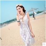 [พร้อมส่ง]Beachwear-37 บีชแวร์ ชุดแซกแขนกุด ผ้าตาข่ายสีขาวซีทรู แต่งขอบด้วยน้ำตาลอ่อนสวยๆ