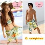 [พร้อมส่ง]Love-433 ชุดว่ายน้ำคู่รัก หญิง-ชาย สีเขียวลายใบไม้