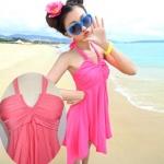 [พร้อมส่ง]BKN-083 -- สีส้ม -- ชุดว่ายน้ำทรงชุดแซก สีพื้นสวยๆ ปลายกระโปรงฟันปลา เซ็ต 2 ชิ้น
