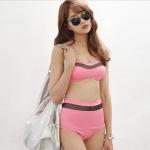 [พร้อมส่ง]BKN-348 -- สีชมพูสด -- ชุดว่ายน้ำเอวสูง แต่งลายผ้าซีทรูสวยๆ