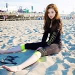 [พร้อมส่ง]BKN-180 ชุดว่ายน้ำแขนยาว กางเกงขายาวสามส่วน สีดำขอบสีเขียวส้ะท้อนแสง เซ็ต 4 ชิ้น (บรา+บิกินี่+เสื้อแขนยาวซิปหน้า+กางเกงสามส่วน)