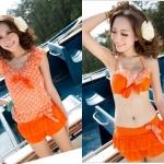 [พร้อมส่ง]BKN-049 --โทนสีส้ม-- ชุดว่ายน้ำบิกินี่เซ็ต 4 ชิ้น เสื้อคลุมผ้าชีฟองลายดอกไม้สวยๆ