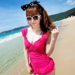 [พร้อมส่ง]BKN-001 --ชมพู -- ชุดว่ายน้ำวันพีช แขนกุด อกจับจีบโบว์สวย แต่งระบายน่ารักสไตล์เกาหลี