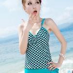 [พร้อมส่ง]BKN-168 ชุดว่ายน้ำTankini สายเดี่ยว โทนสีเขียวแต้มลายจุดดำขาว กางเกงขอบแต่งระบายน่ารัก