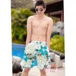 [พร้อมส่ง]BeachMan-254 กางเกงขาสั้นชาย ลายใบไม้ โทนสีฟ้าอมเขียว เนื้อผ้าเดียวกันกับชุดว่ายน้ำ