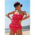 [พร้อมส่ง]Sale-048 ชุดว่ายน้ำวันพีช สีชมพู แต่งระบายด้านหน้า หลังเว้าลึก น่ารักสไตล์เกาหลี
