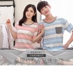[PRE-ORDER] ชุดนอนคู่รัก ลายทางสีฟ้า-ชมพู