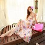 [พร้อมส่ง]Beachwear-35 บีชแวร์ เดรสยาว ผ้าซีทรูลายสวย โทนสีชมพูโอรส