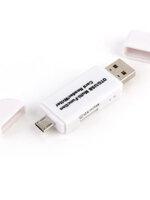 เครื่องอ่านการ์ด USB Micro Card แฟลช OTG TF/SD การ์ดหน่วยความจำ 3 IN 1 (สีขาว)