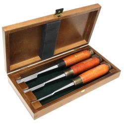 NAREX 852100 Dovetail Chisel 3-pc set - สิ่วเจาะเดือยหางเหยี่ยว 3 เล่มชุดขนาด 6, 13 และ 19 มม. ในกล่องไม้