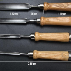 R'Deer RDEER08121825 - สิ่วเล็บมือสำหรับงานไม้ (Gouge Chisel) เหล็ก Cr-V ชุด4 เล่ม ขนาด 8, 12, 18 และ 25มม.