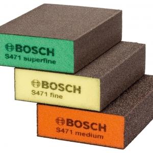 ฟองน้ำขัด Bosch รุ่น Flat & Edge (แพ็ค 3 ชิ้น) - Abrasive Sponge Set - Blue (3-Piece) - 2608621253