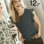 ( ไซส์ 48 หน้าอก 48 นิ้ว ) เสื้อซีฟอง สีดำลาย ยี่ห้อ Jessica แขนระบายน่ารักคะ