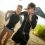 [พร้อมส่ง]BKN-493 ชุดว่ายน้ำแขนยาว โทนสีขาวดำ ลายชิโนริ บิกินี่ผูกข้าง thumbnail 1