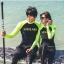 [พร้อมส่ง]BKN-106 ชุดว่ายน้ำขาวยาว แขนยาว สีดำต่อแขนสีเขียวสะท้อน thumbnail 1